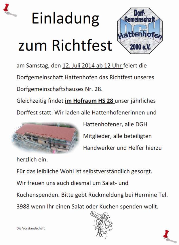 dorfgemeinschaft hattenhofen e.v - hs28, Einladung